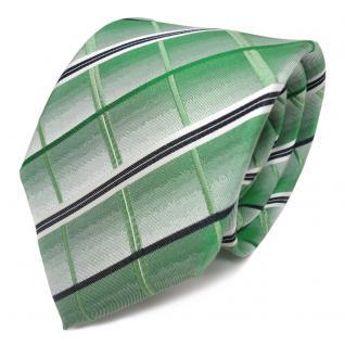 TigerTie Seidenkrawatte grün grasgrün weiss blaugrau gestreift - Krawatte Seide