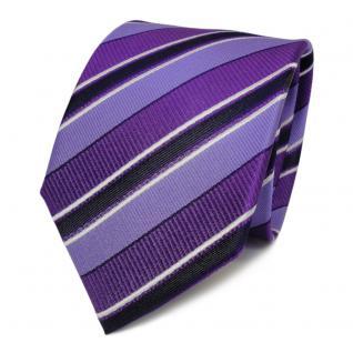 Designer Seidenkrawatte lila violett weiss royal gestreift - Krawatte Seide