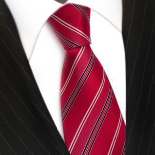 Designer Seidenkrawatte rot signalrot weiss schwarz gestreift - Krawatte Seide - Vorschau 3