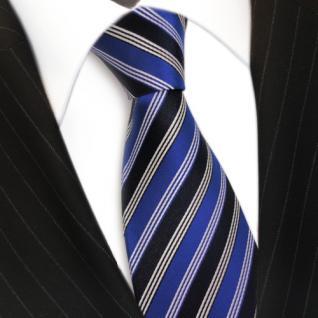 Designer Seidenkrawatte blau leuchtblau schwarzblau silber gestreift - Krawatte - Vorschau 3
