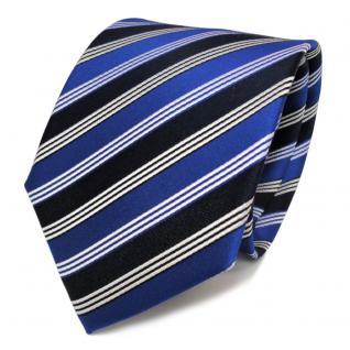 Designer Seidenkrawatte blau leuchtblau schwarzblau silber gestreift - Krawatte