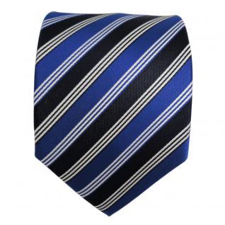 Designer Seidenkrawatte blau leuchtblau schwarzblau silber gestreift - Krawatte - Vorschau 2