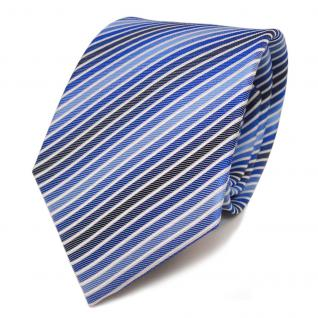 Designer Seidenkrawatte blau hellblau dunkelblau creme gestreift Krawatte Seide