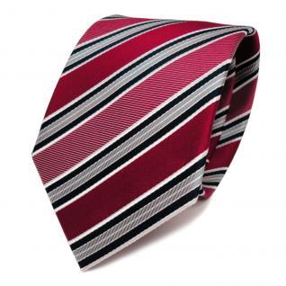 TigerTie Seidenkrawatte rot blau grau weiss gestreift - Krawatte 100% Seide
