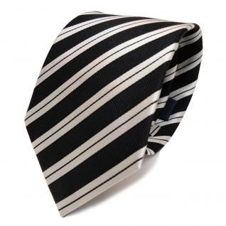 Edle Designer Seidenkrawatte schwarz silber gestreift - Krawatte Seide Tie