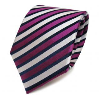 Designer Seidenkrawatte magenta lila silber blau gestreift - Krawatte Seide Tie