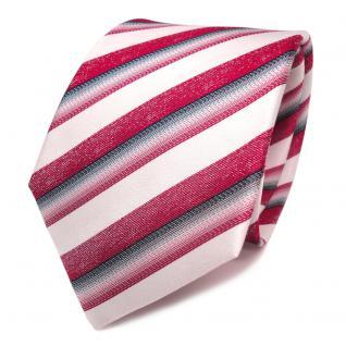Designer Seidenkrawatte rot weiss anthrazit gestreift - Krawatte Seide Tie