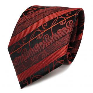 TigerTie Designer Seidenkrawatte braun orange schwarz gestreift - Krawatte Seide