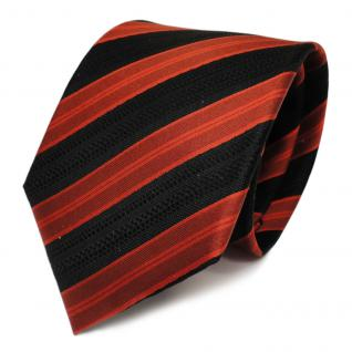 Designer Seidenkrawatte orange braun schwarz gestreift - Krawatte Seide Tie