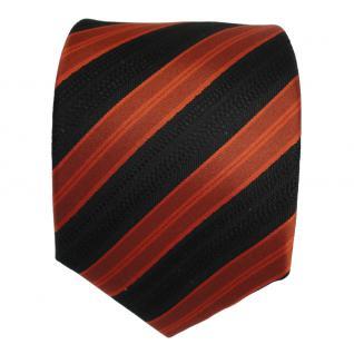 Designer Seidenkrawatte orange braun schwarz gestreift - Krawatte Seide Tie - Vorschau 2