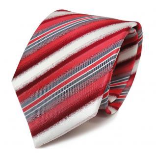 Designer Seidenkrawatte rot weiss grau gestreift - Krawatte Seide Tie Binder