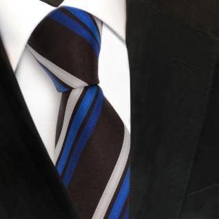 Designer Seidenkrawatte blau silber braun schwarzbraun gestreift- Krawatte Seide