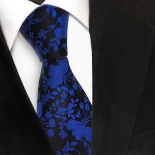 Designer Seidenkrawatte blau marine schwarz gemustert - Krawatte Seide Tie