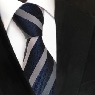 Designer Seidenkrawatte grau silber anthrazit royal gestreift - Krawatte Seide
