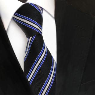 Designer Seidenkrawatte schwarz blau silber gestreift - Krawatte Seide Binder