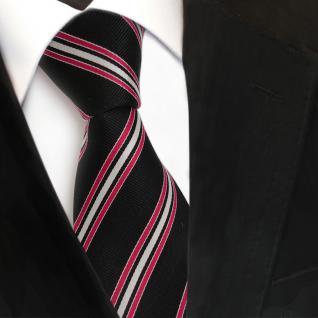 Designer Seidenkrawatte schwarz rot silber gestreift Rips - Krawatte Seide Tie