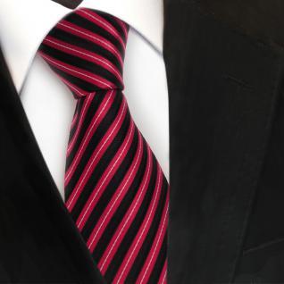 Designer Seidenkrawatte rot schwarz silber gestreift - Krawatte Seide Tie