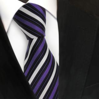 Designer Seidenkrawatte lila violett silber schwarz gestreift - Krawatte Seide