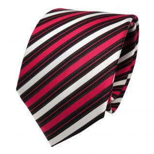 Designer Seidenkrawatte rot silber schwarz gestreift - Krawatte Seide Tie Binder