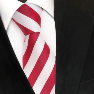TigerTie Designer Krawatte - Schlips Binder rot tomatenrot weiss gestreift - Tie