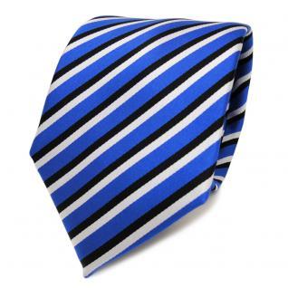 TigerTie Designer Krawatte - Binder blau ultramarin schwarz weiss gestreift