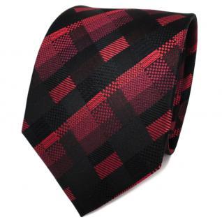 TigerTie Designer Seidenkrawatte schwarz rot bordeaux kariert - Krawatte Seide