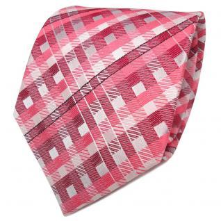 TigerTie Designer Seidenkrawatte rosa rosé silber kariert - Krawatte Seide
