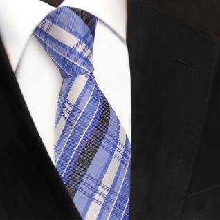 TigerTie Designer Seidenkrawatte blau fernblau silber gestreift - Krawatte Seide - Vorschau 3