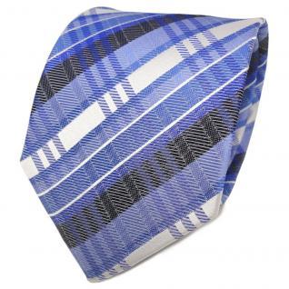 TigerTie Designer Seidenkrawatte blau fernblau silber gestreift - Krawatte Seide - Vorschau 1