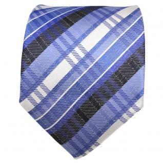 TigerTie Designer Seidenkrawatte blau fernblau silber gestreift - Krawatte Seide - Vorschau 2