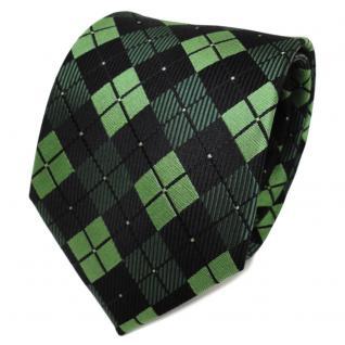 TigerTie Designer Seidenkrawatte grün hellgrün schwarz kariert - Krawatte Seide