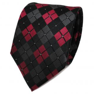 TigerTie Seidenkrawatte rot rubinrot anthrazit schwarz kariert - Krawatte Seide