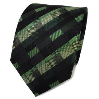 TigerTie Designer Seidenkrawatte grün hellgrün schwarz gemustert- Krawatte Seide