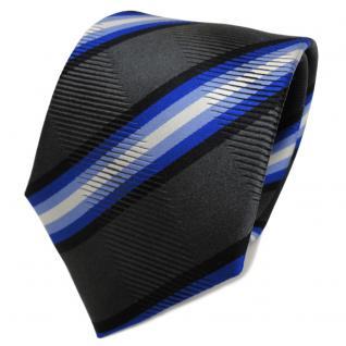 TigerTie Seidenkrawatte blau anthrazit schwarz gestreift - Krawatte Seide