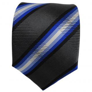 TigerTie Seidenkrawatte blau anthrazit schwarz gestreift - Krawatte Seide - Vorschau 2