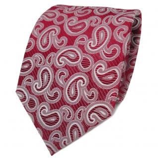 TigerTie Designer Seidenkrawatte rot glanzrot silber Paisley - Krawatte Seide