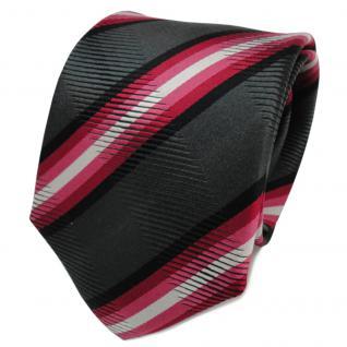 TigerTie Designer Seidenkrawatte rot anthrazit schwarz gestreift- Krawatte Seide