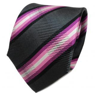 TigerTie Designer Seidenkrawatte lila anthrazit schwarz gestreift - Krawatte
