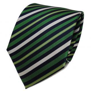 TigerTie Designer Seidenkrawatte grün silber royal gestreift - Krawatte Seide