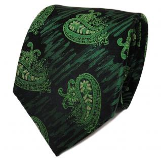 TigerTie Designer Seidenkrawatte grün dunkelgrün schwarz Paisley- Krawatte Seide