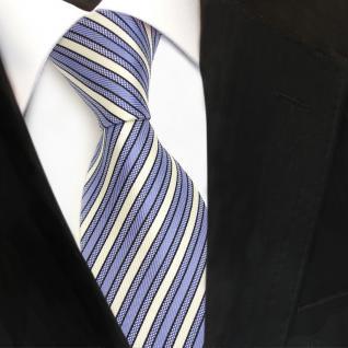 TigerTie Designer Seidenkrawatte blau hellblau weiß gestreift - Krawatte Seide - Vorschau 3