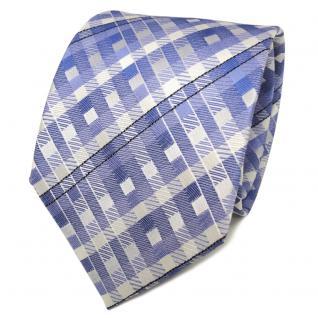 TigerTie Designer Seidenkrawatte blau hellblau silber kariert - Krawatte Seide