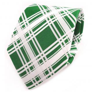 TigerTie Designer Seidenkrawatte grün knallgrün weiß kariert - Krawatte Seide