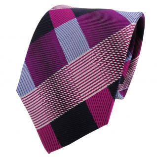 TigerTie Designer Seidenkrawatte lila violett blau kariert - Krawatte Seide Silk