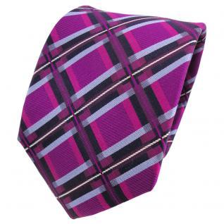 TigerTie Designer Seidenkrawatte lila magenta blau royal kariert - Krawatte
