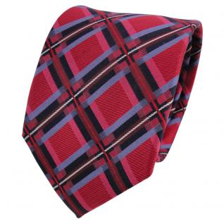 TigerTie Designer Seidenkrawatte rot blau royal silber kariert - Krawatte Seide