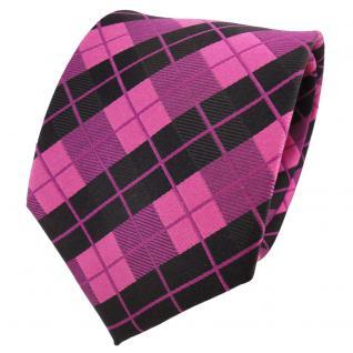 TigerTie Designer Seidenkrawatte rosa lila schwarz kariert - Krawatte Seide