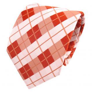 TigerTie Designer Seidenkrawatte orange rotorange weiß kariert - Krawatte Seide