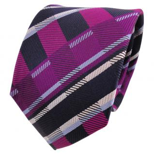 TigerTie Designer Seidenkrawatte lila magenta blau gestreift - Krawatte Seide