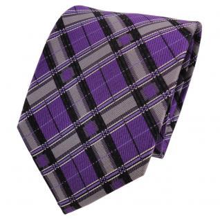 TigerTie Designer Seidenkrawatte lila grau schwarz kariert - Krawatte Seide